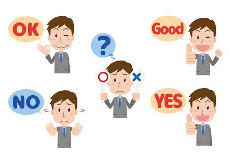 a male company employee who signs a hand Ilustração