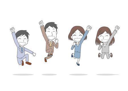 Men and women jumping Ilustração
