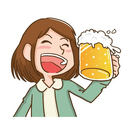 a woman toasting with a beer