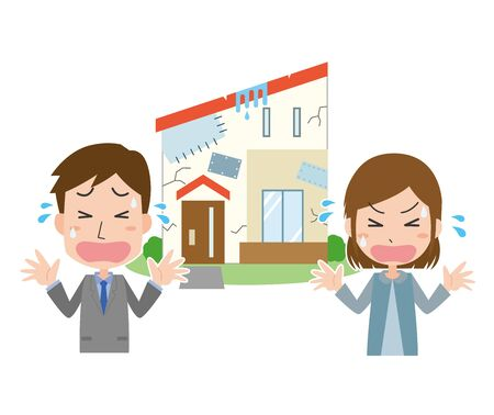 Couple in trouble with defective housing 일러스트