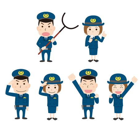 Police Officer's Illustration Set
