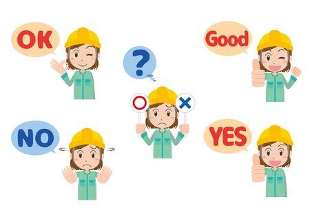 Female Worker's Hand Sign Ilustração