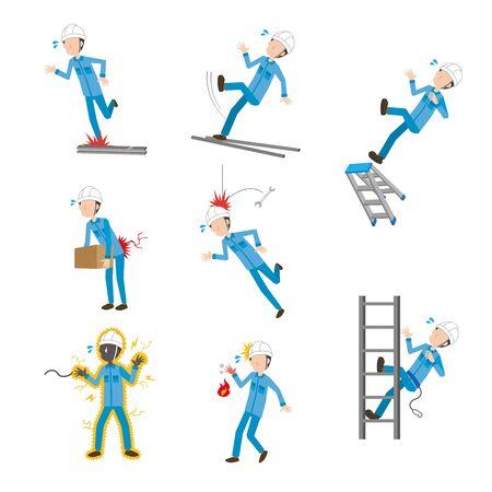 Worker's compensation set for male workers Vektorgrafik