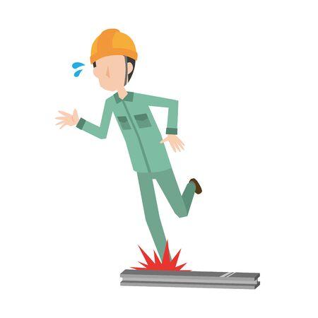 a male worker stumbling