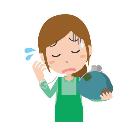 Image illustration of a housewife who is short of money Vektorgrafik