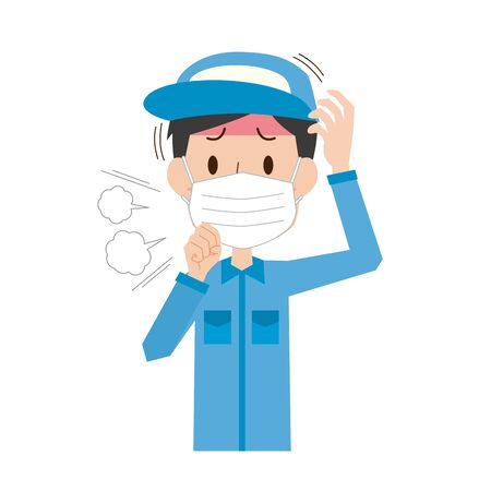a male worker who caught a cold Illusztráció