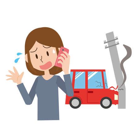 a woman who crashed into a telephone pole