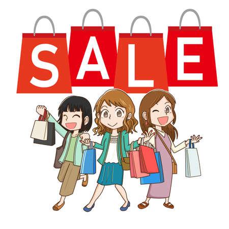 Women enjoying the sale Иллюстрация