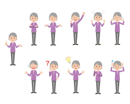 Senior Woman's Facial Expression Illustration Set