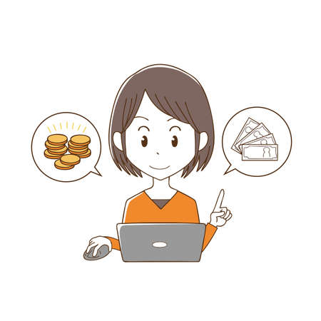 a woman who makes money on a computer