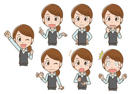 Receptionist woman's facial expression illustration set