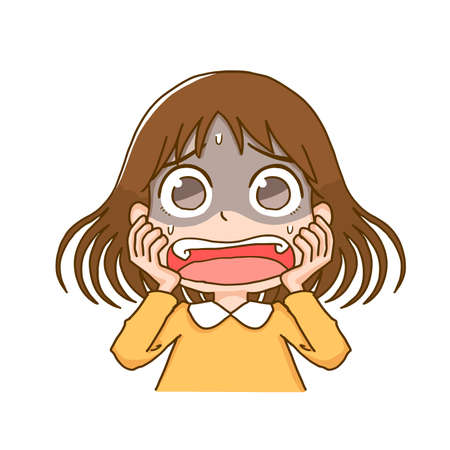 The Girl Who Is Frightened by Fear  イラスト・ベクター素材