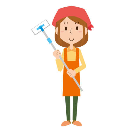 A woman cleaning with a flooring wiper