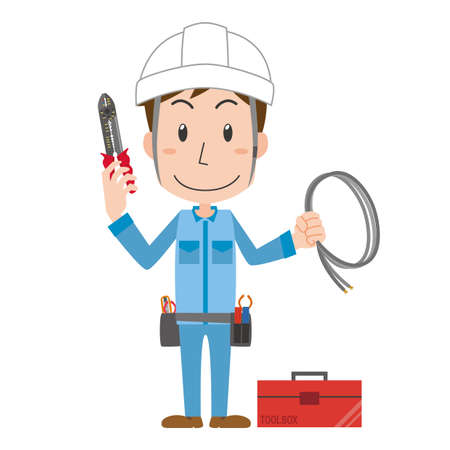 a man who is an electricist  イラスト・ベクター素材