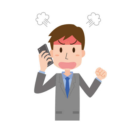 a man who gets angry while on the phone  イラスト・ベクター素材