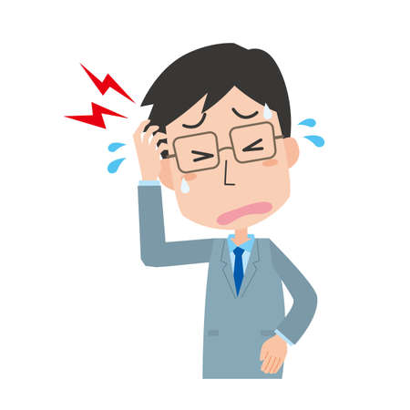 a male office worker with a headache