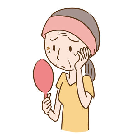 a woman who is concerned about wrinkles  イラスト・ベクター素材