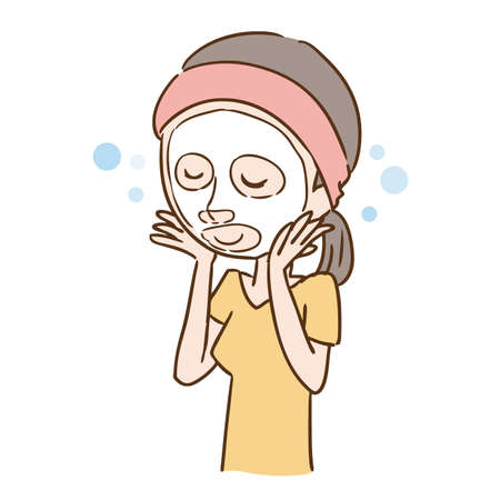 a woman who puts on a face mask  イラスト・ベクター素材