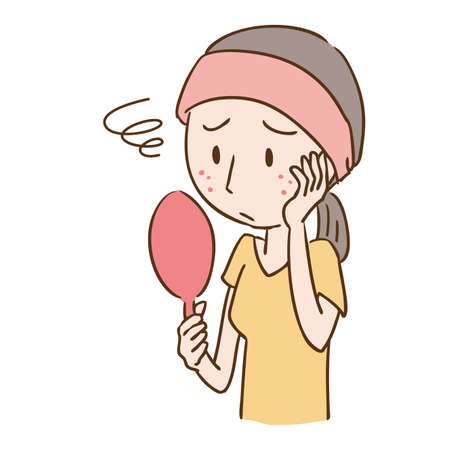 a woman who is concerned about acne  イラスト・ベクター素材