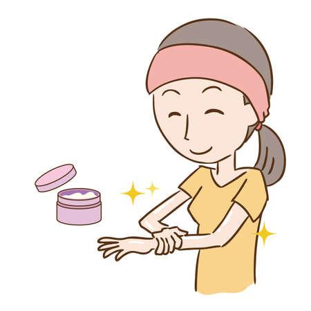 a woman who applies cream