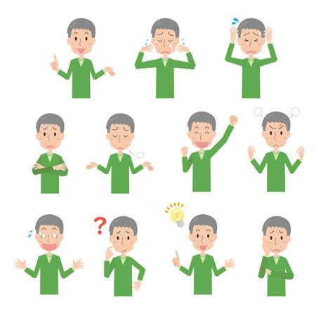 Senior Men's Facial Expression Illustration Set