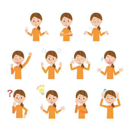 Women's Facial Expression Shown Illustrations Set  イラスト・ベクター素材