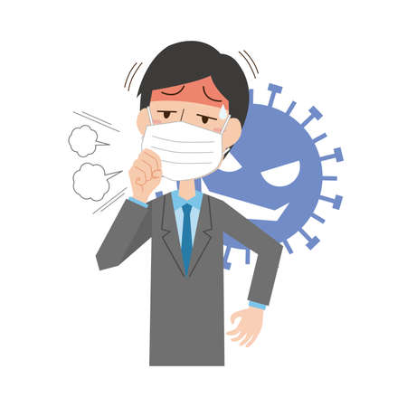 a male company employee infected with influenza  イラスト・ベクター素材