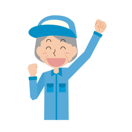 Senior female worker in a gutsy pose  イラスト・ベクター素材