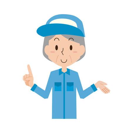 Senior female worker explains  イラスト・ベクター素材