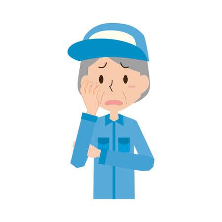 Troubled Senior Female Worker