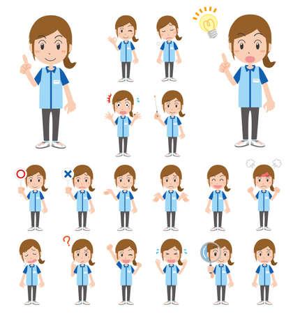 Female convenience store clerk's facial expression illustration set