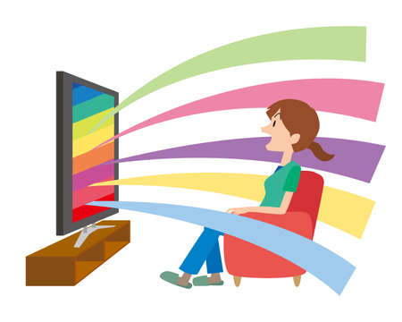a woman who enjoys watching TV  イラスト・ベクター素材