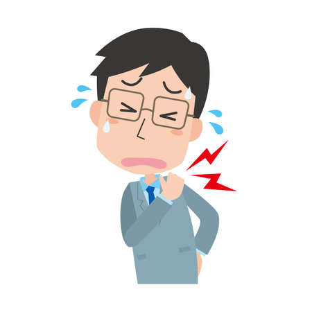 a male company employee suffering from stiff shoulders