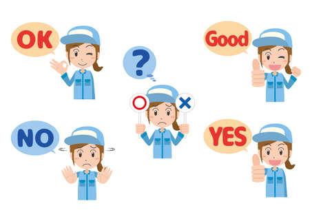 Hand sign illustration set of female workers