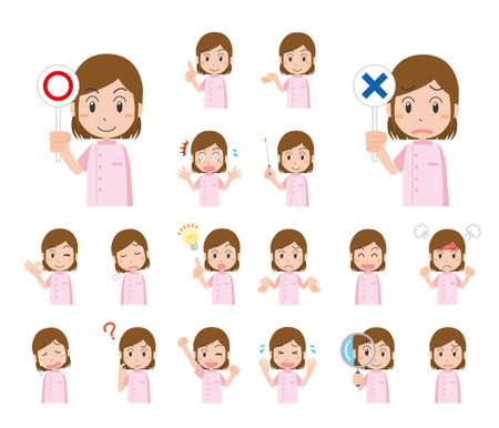 Dental Woman's Facial Expression Illustration Set  イラスト・ベクター素材