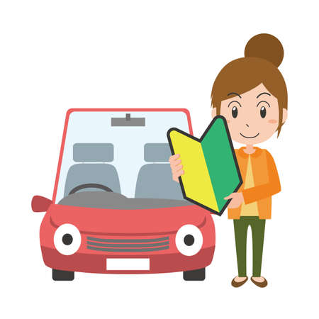 A woman with a beginner mark in front of the car