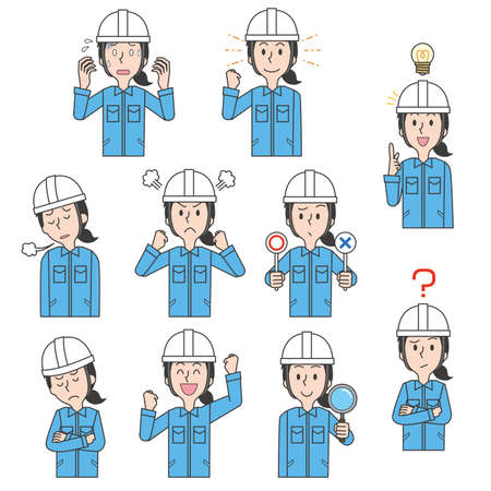 Facial expression illustration set of female workers