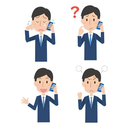 The expression illustration set of the man who conversations with the mobile phone