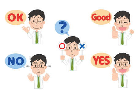 Hand sign illustration set of a man in a white coat  イラスト・ベクター素材
