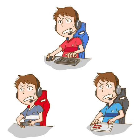 Set illustration of a man who does eSports  イラスト・ベクター素材