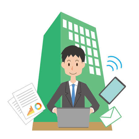 a man who works for a company  イラスト・ベクター素材