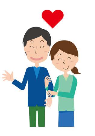 Canoodling couple  イラスト・ベクター素材