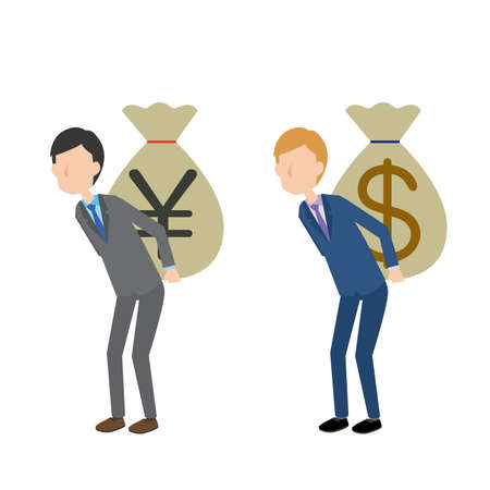 a man carrying a bag of yen and a man carrying a bag of dollar  イラスト・ベクター素材