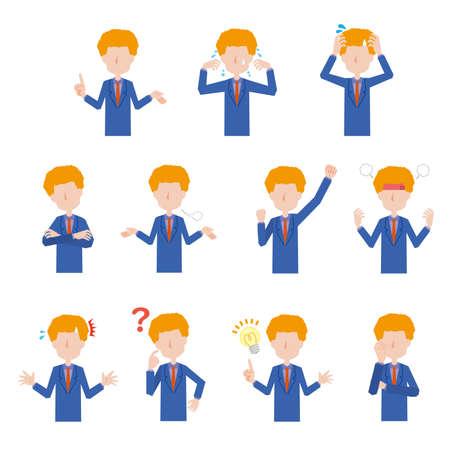 Male foreigner's facial expression illustration set