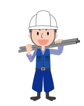 a man in a construction job  イラスト・ベクター素材