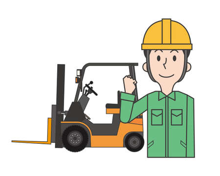 A male worker smiling in front of a forklift
