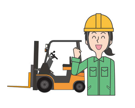 A female worker smiling in front of a forklift