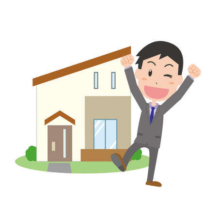 A man rejojoying in front of his home Stock Illustratie