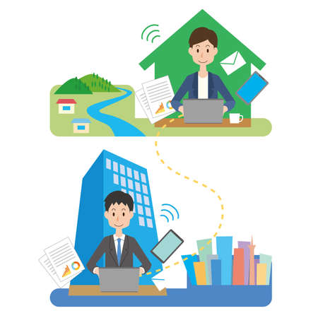 a man who interacts with the company by remote work