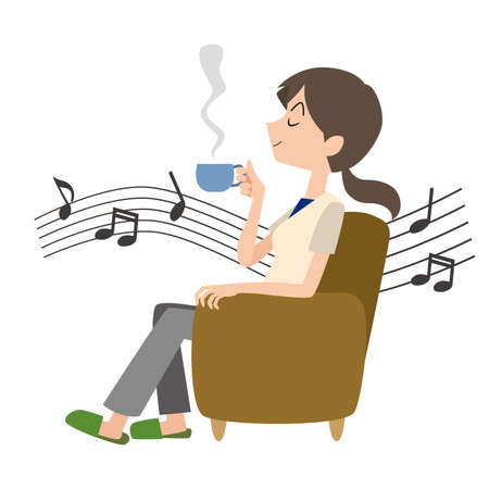 a woman who relaxes while listening to music  イラスト・ベクター素材